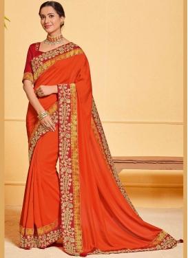 Orange Patch Border Poly Silk Designer Traditional Saree