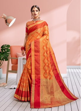 Orange Weaving Ceremonial Traditional Saree
