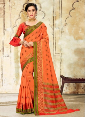 Orange Woven Traditional Designer Saree