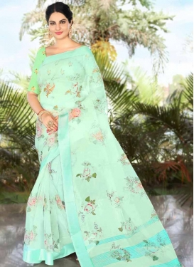 Organza Mint Green and Turquoise Classic Saree For Ceremonial