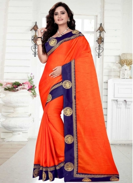 Organza Navy Blue and Orange Lace Work Contemporary Saree