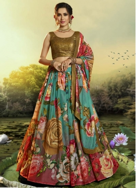 Organza Red and Sea Green Trendy A Line Lehenga Choli