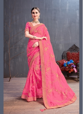 Organza Traditional Saree in Pink