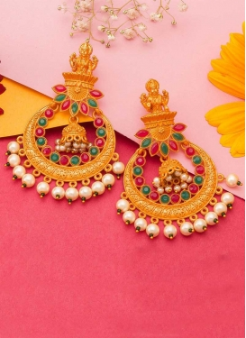 Outstanding Alloy Beads Work Earrings For Party