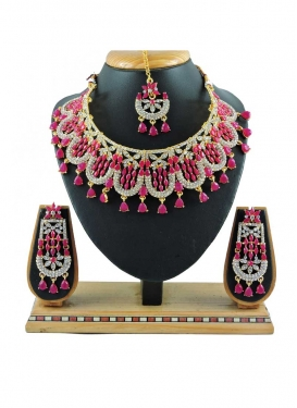 Outstanding Alloy Stone Work Rose Pink and White Necklace Set