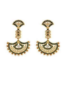 Outstanding Bottle Green and White Brass Gold Rodium Polish Earrings For Festival