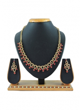 Outstanding Gold and Red Stone Work Necklace Set