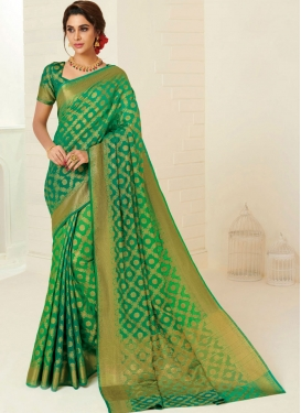 Paramount Green Ceremonial Designer Traditional Saree