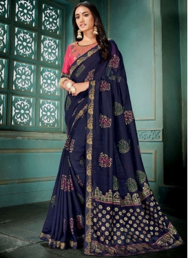 Paramount Patch Border Navy Blue Traditional Designer Saree