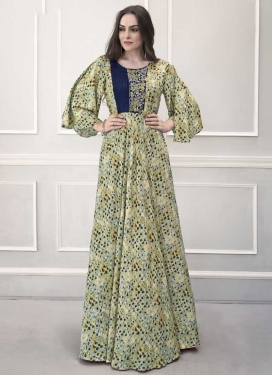 Pasmina Cutdana Work Readymade Floor Length Gown
