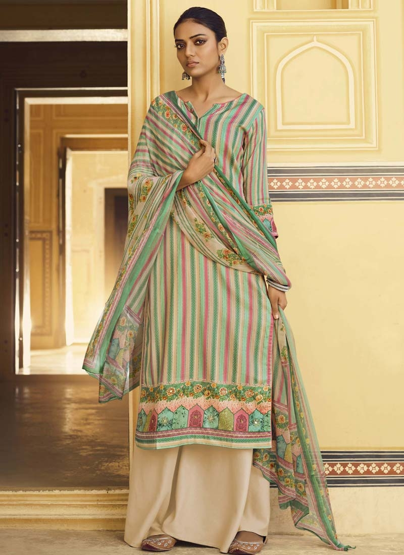 Pasmina Digital Print Work Palazzo Style Pakistani Salwar Kameez