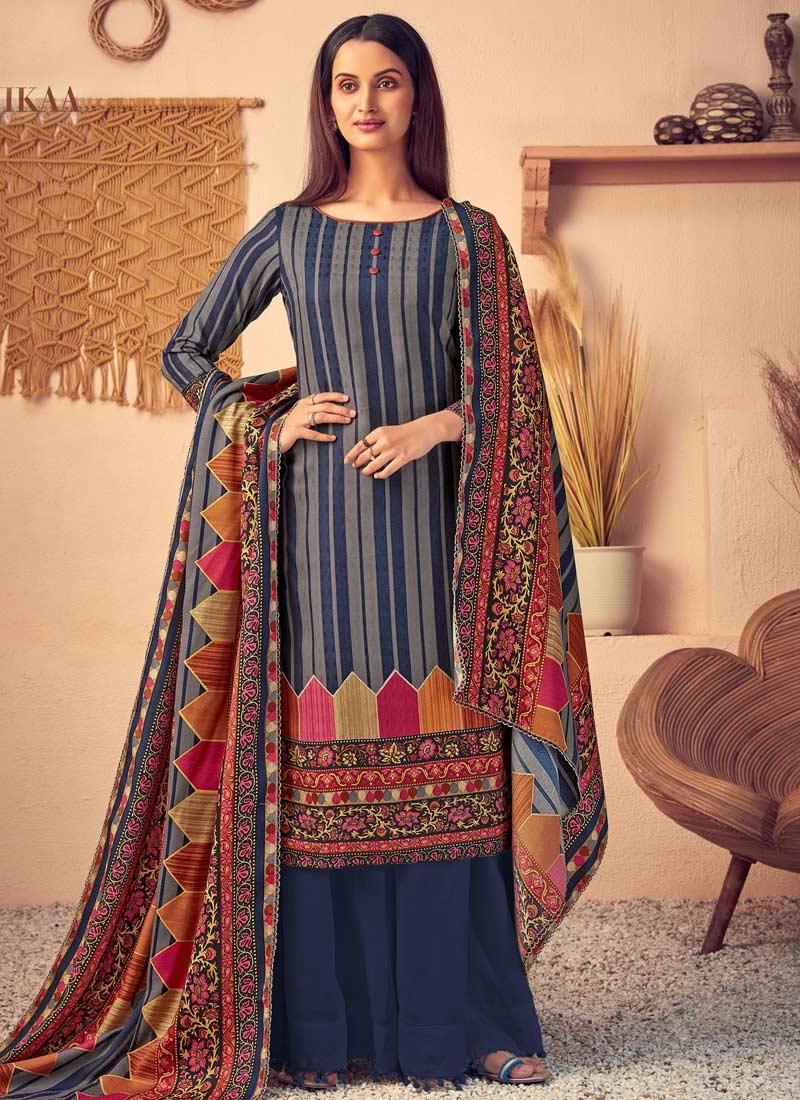 Pasmina Palazzo Style Pakistani Salwar Kameez For Casual