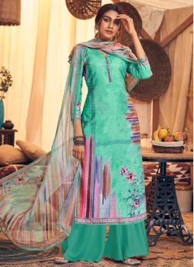 Pasmina Sea Green and Turquoise Palazzo Style Pakistani Salwar Kameez