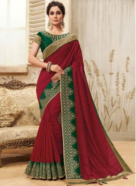 Patch Border Fancy Fabric Classic Designer Saree in Maroon