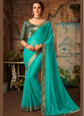 Patch Border Faux Chiffon Saree in Turquoise