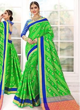 Patola Silk Blue and Green Designer Contemporary Saree For Ceremonial