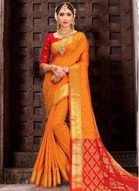 Patola Silk Orange and Red Thread Work Trendy Classic Saree