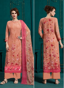 Peach Abstract Print Ceremonial Palazzo Style Pakistani Salwar Kameez