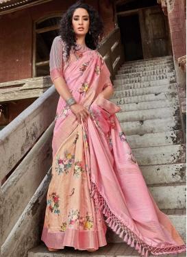 Peach and Pink Digital Print Work Half N Half Trendy Saree