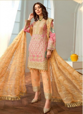 Peach and Pink Embroidered Work Pant Style Pakistani Salwar Suit