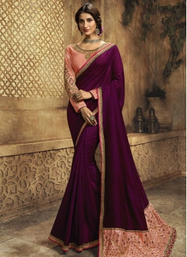 Peach and Purple Contemporary Style Saree