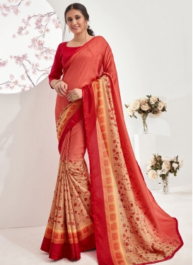 Peach and Red Abstract Print Work Designer Contemporary Style Saree