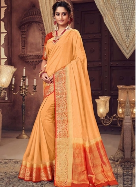 Peach and Red Art Silk Contemporary Style Saree