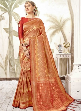 Peach and Red Art Silk Traditional Designer Saree