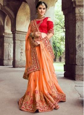 Peach and Red Beads Work Trendy Saree
