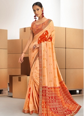 Peach and Red Chanderi Silk Designer Contemporary Saree For Ceremonial