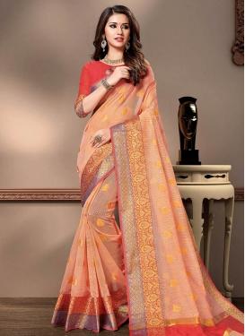 Peach and Red Designer Contemporary Style Saree For Festival