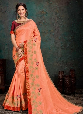Peach and Red Embroidered Work Poly Silk Designer Contemporary Saree