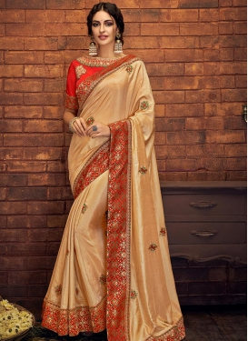 Peach and Red Embroidered Work Satin Silk Trendy Saree