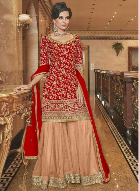 Peach and Red Net Sharara Salwar Kameez