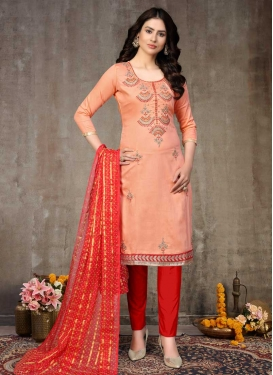 Peach and Red Pant Style Classic Salwar Suit For Casual