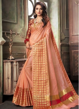 Peach and Red Thread Work Cotton Silk Contemporary Saree