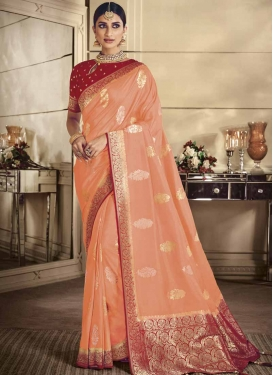 Peach and Red Thread Work Trendy Classic Saree