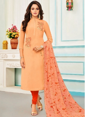 Peach and Red Trendy Churidar Salwar Suit