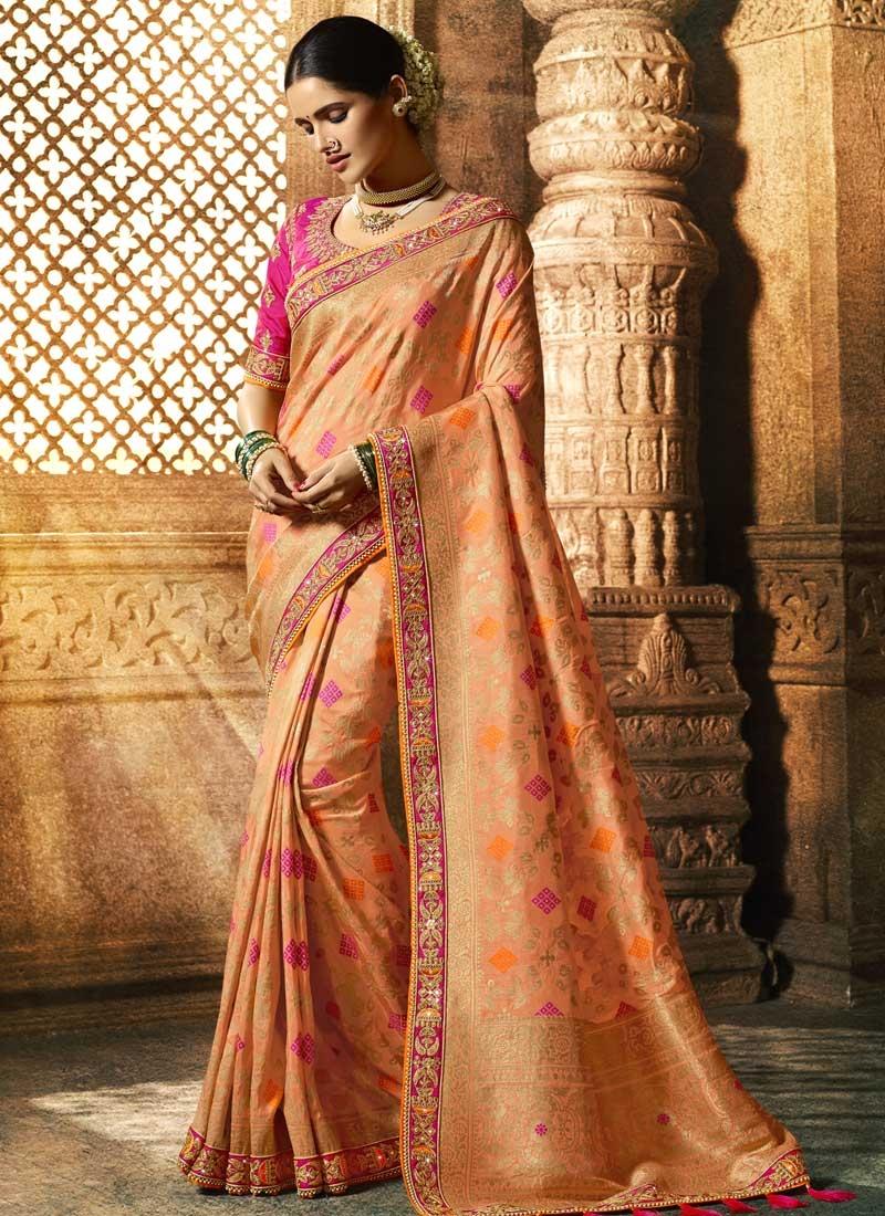 Peach and Rose Pink Beads Work Designer Traditional Saree
