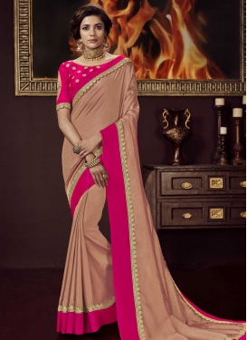Peach and Rose Pink Embroidered Work Designer Contemporary Style Saree