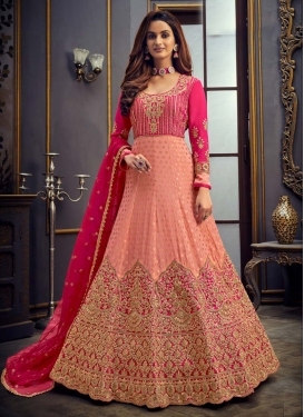 Peach and Rose Pink Floor Length Anarkali Suit