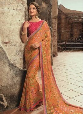 Peach and Rose Pink Lace Work Designer Contemporary Saree
