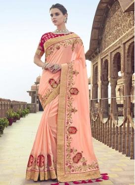 Peach and Rose Pink Trendy Saree
