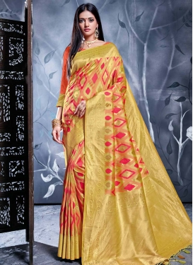 Peach and Rose Pink Woven Work Designer Contemporary Style Saree