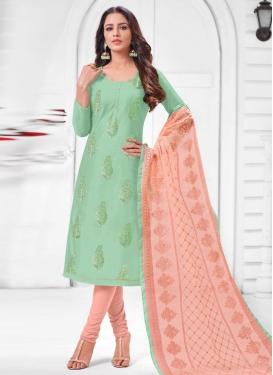 Peach and Sea Green Embroidered Work Churidar Salwar Suit