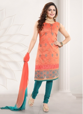 Peach and Teal Embroidered Work Chanderi Silk Readymade Churidar Salwar Kameez