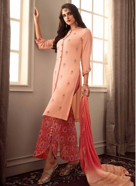 Peach and Tomato Uppada Silk Pant Style Classic Suit For Festival