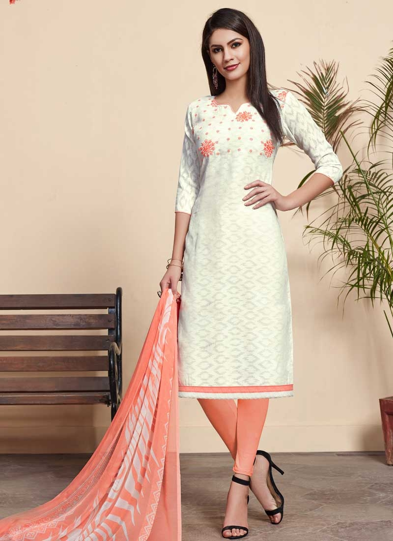 Peach and White Cotton Churidar Suit
