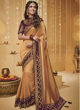 Peach and Wine Lace Work Designer Contemporary Saree