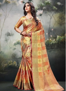 Peach and Yellow Designer Contemporary Style Saree For Ceremonial